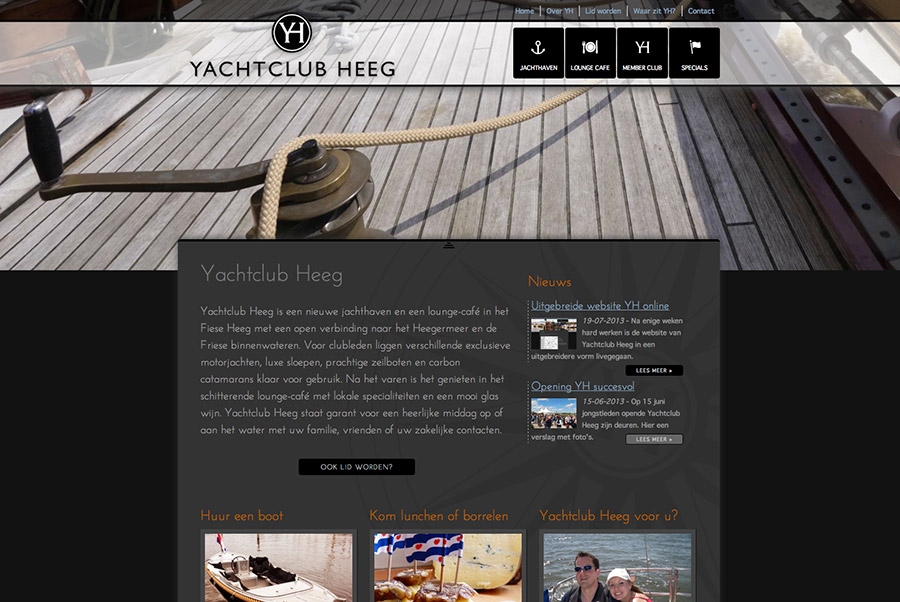 Website luxe jachtclub in Friesland